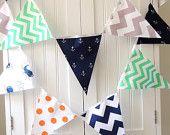 21 Flag Bunting, 9 Feet Fabric Banner, Navy Blue Whale, Anchor, Teal, Grey Chevron, Orange Polka Dot, Baby Boy Nursery Decor, Baby Shower