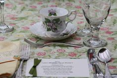 March tea place setting