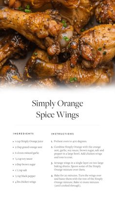 A new twist on a party-food favorite: Try this recipe for Simply Orange Spice Wings for a sweet and savory game-day snack. via @PureWow