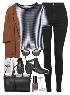 """Outfit with jeans and blazer"" by ferned on Polyvore featuring Topshop, MANGO, Zara, Christian Dior, Casetify, Bobbi Brown Cosmetics, Forever 21 and Yves Saint Laurent"