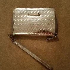 Silver wristlet Small silver wristlet Nine West Accessories Key & Card Holders