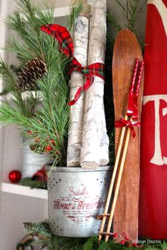 It's The Most Wonderful Time of The Year Home Tour - Design Dazzle  NOTE: Could pair with skis, skates, sled decor for front porch