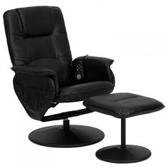 Black Leather Maging Recliner Ottoman Bonded Sofas