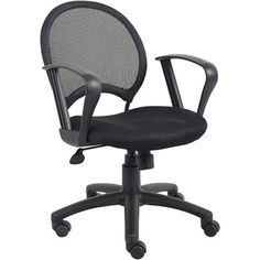 @Overstock - Boss Mesh Back Task Chair with Loop Arms - This adjustable mesh back task chair gives you a comfortable place to sit while you work at your desk. The open mesh back is breathable, and it has a sturdy metal frame. Its loop arm rests and a padded seat provide additional comfort.  http://www.overstock.com/Office-Supplies/Boss-Mesh-Back-Task-Chair-with-Loop-Arms/6304244/product.html?CID=214117 $87.97