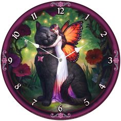 A magical clock comes from the fantastic imagination of world-famous fantasy artist James Ryman. Standing in a secluded garden, hidden by foliage and framed by flowers, this fairy is barefoot and wears a long white dress with a flower crown. Anne Stokes, Cool Clocks, Fantasy, Runes, Flower Crown, Feng Shui, Decorative Plates, Fairy, Cats