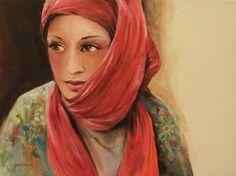 "Jun Jamosmos, ""The Red Scarf"" | Oil on Canvas | $3,500 | Source: http://www.art-mine.com/artistpage/jun_jamosmos.aspx | Agora Gallery | Contemporary Fine Art | NYC, NY"