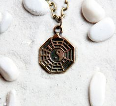 Bagua : Bronze Handmade Pendant with chain by MagicBronze on Etsy