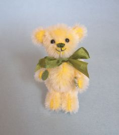 What a happy little bear!!  Miniature Artist Bear Miniature Teddy Bear by bassombear on Etsy