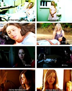 Hanna:Ali,they said you were dead.  Alison:yeah..i heard that too...but here I am.