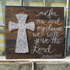 $39 etsy String Art Cross with As for me and my house we will Serve the Lord by NailedItDesign.etsy.com