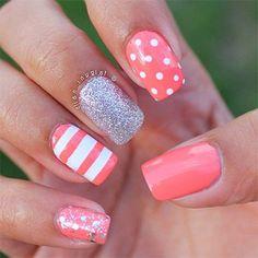 Cute nails. Pink white. Polka dots
