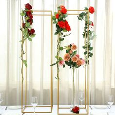 vase centerpieces for home dining room Wedding Vase Centerpieces, Gold Wedding Decorations, Wedding Centerpieces, Wedding Table, Budget Wedding, Wedding Ideas, Christmas Vases, Metal Plant Stand, Greenery Garland