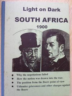 LIGHT ON DARK - SOUTH AFRICA 1900. Pro Boer War publication Wisdom Books, The Old Days, Point Of View, African History, My Children, South Africa, My Books, Public, War