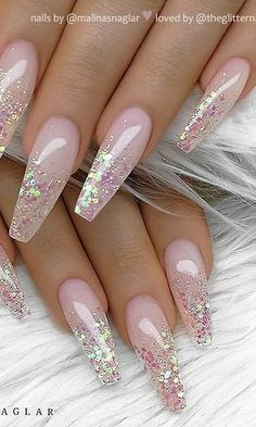 Lovely and Trending Glitter Nail Designs for This Year Part glitter nail art; glitter nails acrylic nails nails nails nails for teens fall 2019 fall autumn fake nails nails natural Nail Design Glitter, Glitter Nail Art, Nails Design, Blue Nails With Glitter, Shiny Nails, New Year's Nails, Nails For New Years, Clear Nails, Best Acrylic Nails