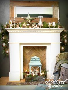 mantel in basement with pallet wood pattern inner #cozy look
