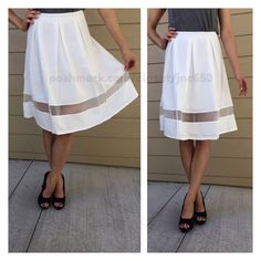 "White skirt White skirt. Brand new without tags. Fully lined with a zipper closure in the back. 65% cotton/ 35% polyester. Model is a S/4 and wearing a S. S: 22"" L/ 26"" waistband M: 23"" L/ 29"" waistband L: 23"" L/ 32"" waistband Availability- S•M•L • 1•0•2.                                           ⭐️This item is brand new with manufacturers tags, boutique tags, or in original packaging. NO TRADES Price is firm unless bundled Ask about bundle discounts Skirts A-Line or Full"