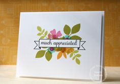 Much Appreciated card by Laura Bassen for Paper Smooches - Fascinators set, Many Thanks and Reflections.