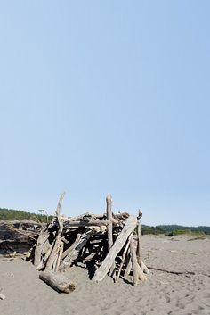Driftwood Forts at Gualala River Beach in Northern California