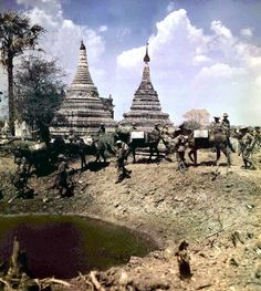 World War II March 1945 Burma Asia Road to Mandalay where a Mule team passes a bullet scarred Pagoda