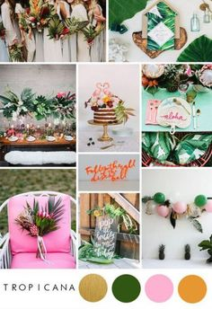Tropical weddings have been a trend for a while, but let's be honest, we all still love that pairing of greenery and neon brights, am I right? This post will tell you how to use tropical inspiration in your wedding in a modern and unique way. - My Wedding Tropical Wedding Decor, Beach Wedding Colors, Tropical Bridal Showers, Tropical Home Decor, Tropical Colors, Tropical Weddings, Tropical Furniture, Wedding Themes, Diy Wedding