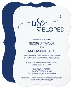 We eloped! I love the polished look of this reception only invitation. This navy blue calligraphy elopement reception card is perfect for a elegant post elopement party. The white and blue design features chic rustic typography and a lovely romantic heart.