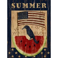 "Buy Art For Less ""Americana Summer Watermelon and Flag"" by Beth Albert Graphic Art on Wrapped Canvas Size: Mason Jar Flower Arrangements, Mason Jar Flowers, Watermelon Decor, Barn Wood Signs, Wooden Signs, Garden Decor Items, House Flags, Garden Flags"