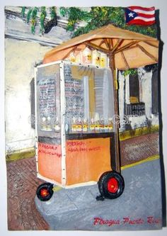 Piraguas cart painting by a Puerto Rican artist