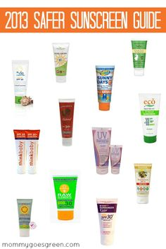 The Environmental Working Group's official list of safest sunscreens for 2013! Always use sunscreen to help prevent things like skin damage, wrinkles, and skin cancer.