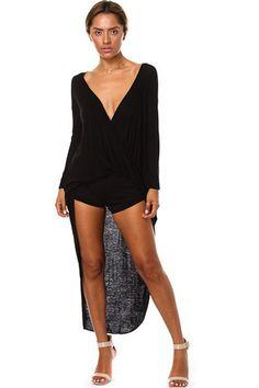 Hi Lo Wrap Shirt-Black – Lauryn La'Rue Boutique