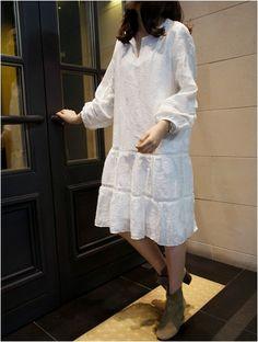 Flare white dress  #dress #kooding