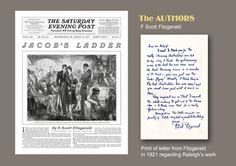Illustration by Henry Patrick Raleigh for short story 'Jacob's Ladder' by F. Scott Fitzgerald appearing in Saturday Evening Post - 20 August 1927. Note from Fitzgerald thanking Raleigh for his wonderful illustrations.