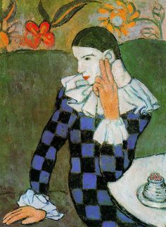 Pablo Picasso Arlequin accoude Oil on canvas, 1901 x cm The Metropolitan Museum of Art, New York, USA Kunst Picasso, Art Picasso, Picasso Blue, Picasso Paintings, Henri Matisse, Jean Leon, Georges Braque, Metropolitan Museum, Gouache