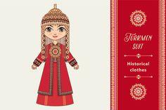The girl in Turkmen dress. Historica by Zoya Miller on Creative Market
