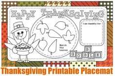 These are so cute!  Such a great idea!!  - Thanksgiving Printable Placemats for Kids | #Thankgiving #Crafts
