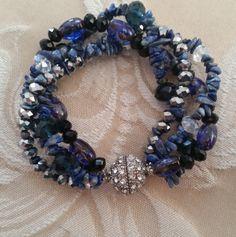 Vintage bracelet,  vintage jewelry,  boho bracelet, beaded bracelet,  semi-precious stones, blur bracelet, Bohemian bracelet, jewelry, boho by Passion4Retro on Etsy