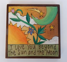 Sticks Furniture  7 x 7 inch plaque.  Wood burned and hand-painted - available at Good Goods in Saugatuck, Michigan.