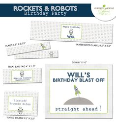 Rockets and Robots Birthday Party - PRINTABLE ONLY - Banner, Toppers, Tags, Invitation and more. $25.00, via Etsy.