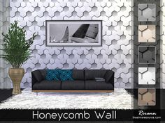 Honeycomb Wall by Rirann at TSR via Sims 4 Updates