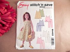 McCalls Easy Stitch N' Save M4422 Year 2004 Girls Top Pants and Dress…