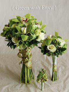 Bridesmaids, antique hydrangea, green/burgundy cymbidium orchids, deep amethyst calla lilies, etc...