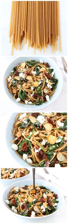 Whole Wheat Spaghetti with Sun Dried Tomatoes and Spinach on http://twopeasandtheirpod.com Love this simple pasta dish!