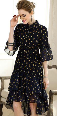 Elegant Lapel Coller Flare Sleeve Irregular Hem Skater Dress