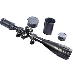 Hunting- Scope W front AO Adjustment By Ourgear- Red Green Illumination Mil-dot Reticle- Comes With Extended Sunshade Heavy Duty Ring Mount Lens Cover- Hunting Crosshair Rifle Gun Scope ** See this great product. Hunting Scopes, 100 Yards, Rifle Scope, Red Dots, Low Lights, Edc, Binoculars, Red Green, Hand Guns