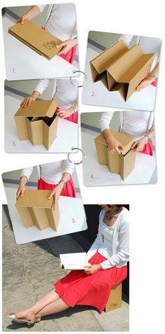 Recycling cardboard into a seat Cardboard Chair, Diy Cardboard Furniture, Paper Furniture, Cardboard Design, Cardboard Display, Folding Furniture, Cardboard Paper, Cardboard Crafts, Folding Chair