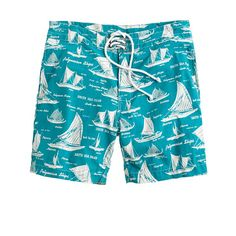 Fun board shorts in bright blue nautical print. (via @J.Crew www.jcrew.com)