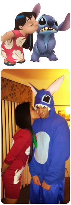 DIY lilo and stitch costumes!! such a cute couple costume! Plus Lilo's little green doll.