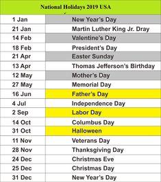11 Best Us Holidays 2019 Bank School Public Holidays