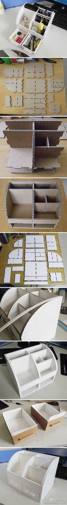 Storage Box with Drawer | Materials: Corrugated Cardboard | Instructions: http://tieba.baidu.com/p/2927723907