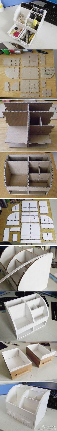 Storage Box with Drawer | Materials: Corrugated Cardboard | Instructions: http://tieba.baidu.com/p/2927723907