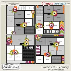 Digital Scrapbook Templates, Project 2015 February by Connie Prince